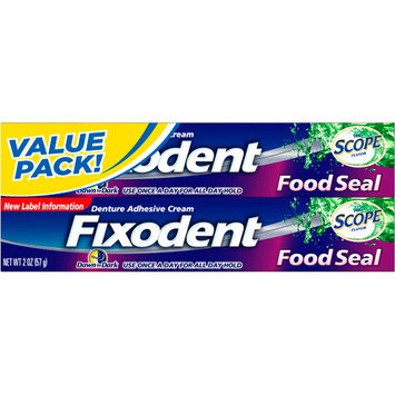 Procter & Gamble Company Food Seal Denture Adhesive Cream, Dawn to Dark, Plus Scope Flavor, 2 - 2 oz (57 g) packs