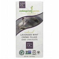 Endangered Species Chocolate Creme Filled Dark Chocolate 72% Cocoa Lavender Mint 3 oz