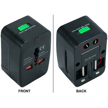 QVS Travel Power Adapter with Surge Protection - PA-C3