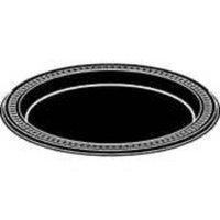 Huhtamaki Round Heavyweight Plastic Plates, 7in. Diameter, Black, Pack Of 125