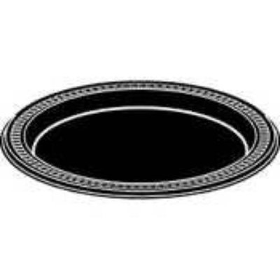 Huhtamaki Round Heavyweight Plastic Plates, 7in. Diameter, Black, Pack Of 125