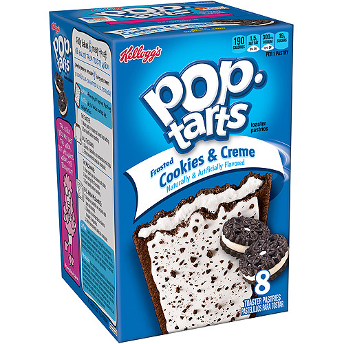 Kellogg's Pop-Tarts Frosted Cookies & Creme Toaster Pastries, 8 count, (Pack of 12)