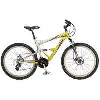Mongoose 26 inch Status 3.0 Full Suspension Bike - Mens- Silver/Yellow