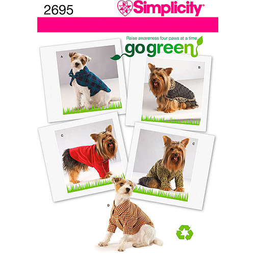 Simplicity Pattern Dog Clothes In 3 Sizes, (XS, S, M)