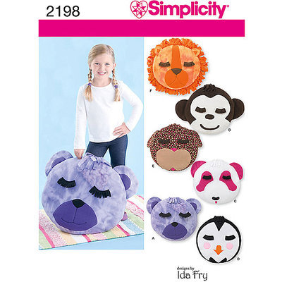 Simplicity Pattern Bear/Monkey/Dog/Panda/Penguin/Lion Fleece Pillows, One Size