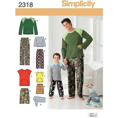 Simplicity Pattern Men's/Boys Sleepwear, (S-L, S-XL)