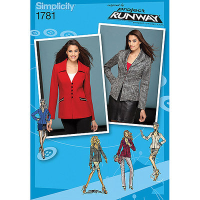 John Lewis Simplicity Jackets Project Runway Collection Sewing Leaflet, 1781, R5