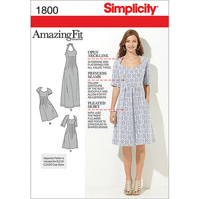 Simplicity Amazing Fit Dresses Dressmaking Leaflet, 1800