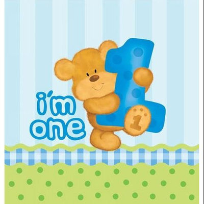Creative Converting Bear's 1st Birthday Boy Plastic Tablecover