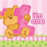 Creative Converting Bear's 1st Birthday Girl Lunch Napkins