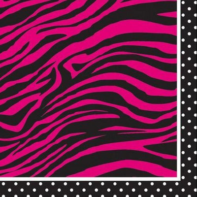 Creative Converting Pink Zebra Boutique Beverage Napkins