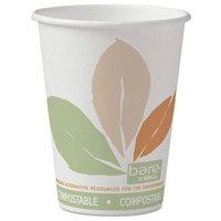 SOLO Cup Company Bare PLA Paper Hot Cups, 12oz, White w/Leaf Design, 50/Bag, 20 Bags/Carton