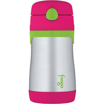 Babies R Us Thermos Foogo 290 ml Stainless Steel Straw Bottle - Charcoal with Teal Accents
