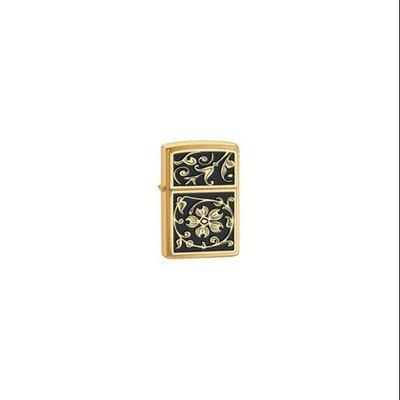 Zippo Brushed Brass Gold Floral Flush Emblem Lighter