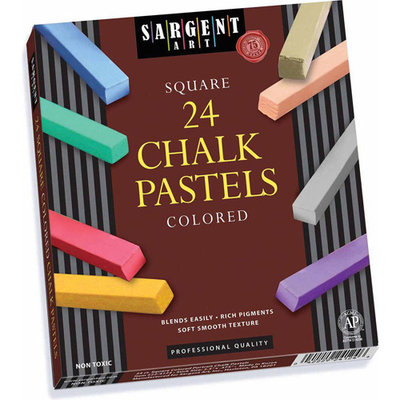 24Ct Assorted Color Artists Chalk Pastels Lift Lid Box