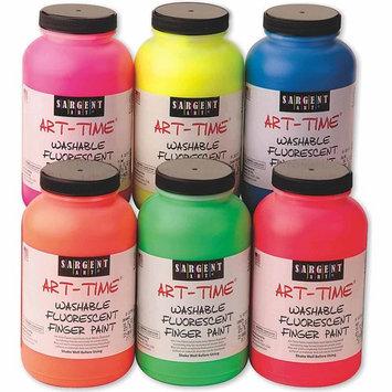 16-Ounce Art Time Washable Fluorescent Finger Paint Set of 6, Includes All colors - Sargent Art - 22