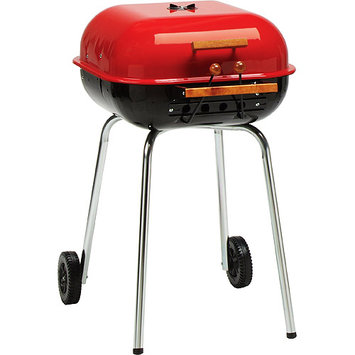 Meco Grills Meco Swinger Series 342 sq inch Square Charcoal Grill, Red/Black
