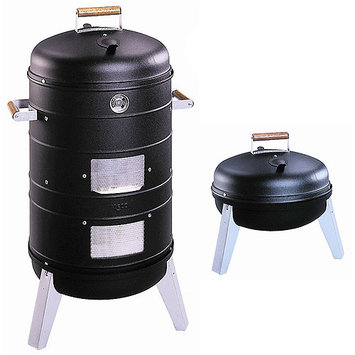Meco Deluxe 2-in-1 Charcoal Water Smoker/Grill