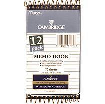 Cambridge Memo Books - 12 Pack of 70 Sheet Books