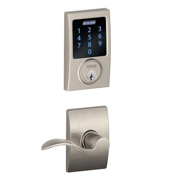 Schlage Century Accent Door Lever Set Electronic Deadbolt SatNickel