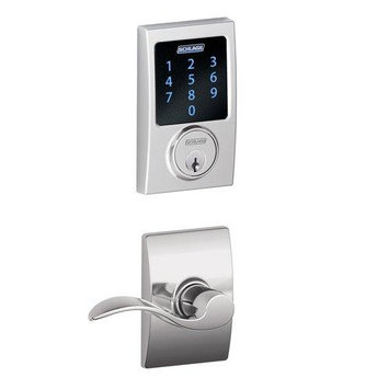 Schlage Century Accent Door Lever Set Electronic Deadbolt Chrome