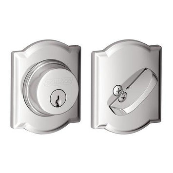 Schlage B60N CAM 625 Camelot Single Cylinder Deadbolt, Bright Chrome