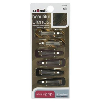 SCUNCI 6 Count Beautiful Blends Brown Snap Clips