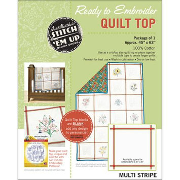 Aunt Martha's Stitch 'Em Up Ready To Embroider Quilt Top 45