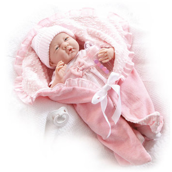 Jc Toys 15 inch La Newborn Real Girl Doll with Bunting and Accessories