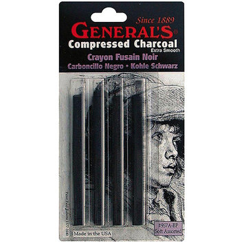 General Pencil Company General Pencil 412342 Compressed Charcoal Sticks 4PkgBlack Soft Assorted