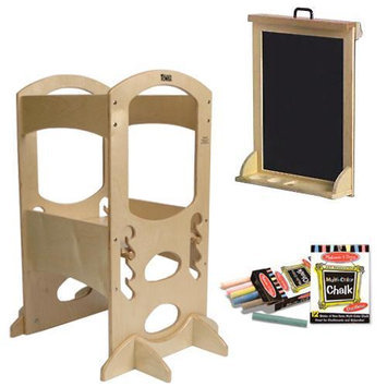 Little Partners LP00401ESL Natural Learning Tower W/Matching Art Easel and Chalk