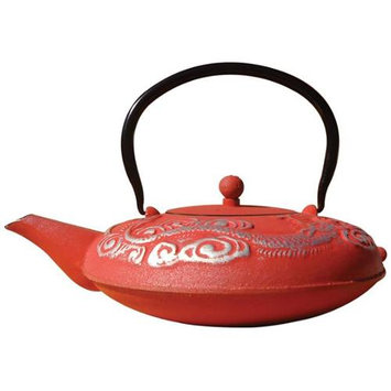 Old Dutch Intl Old Dutch 1014LR Red-Silver Cast Iron Nara Teapot, 40 Oz.