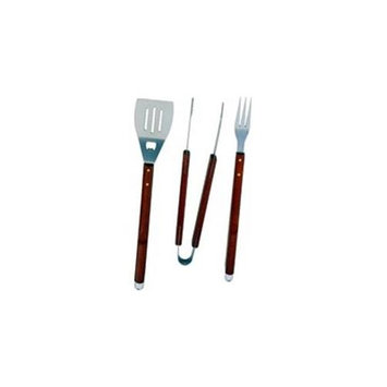 Mintcraft SBQ318-3-B 3 Piece Barbeque Tool Set Stainless Steel With Wood Handle