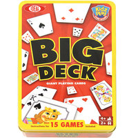 POOF-Slinky 0X3290 Ideal Big Deck Playing Cards with 15 Kid-Friendly Card Games and Storage Tin 54-Card Deck