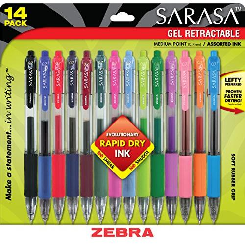 ZEB46824 - Zebra Sarasa Retractable Gel Pen; Assorted Ink; Medium; 14 per Set