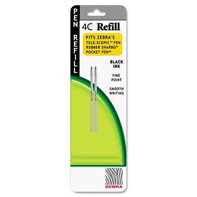 Zebra Refill for 4C Pocket Pen, Fine, Black Ink, 2/pack