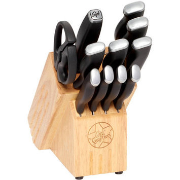 Guy Fieri 12-Piece Inlay Logo Cutlery Set, (Silver/Black)