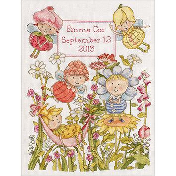 Bucilla Company Bucilla Garden Fairies Birth Record Counted Cross Stitch Kit
