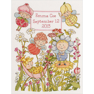 Bucilla Company Bucilla Garden Fairies Birth Record Counted Cross Stitch Kit