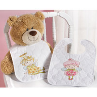 Bucilla Garden Fairies Bib Stamped Cross Stitch Kit - Set of 2