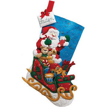 Bucilla Santa and His Sleigh Stocking Felt Applique Kit