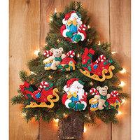 Bucilla Santa and His Sleigh Ornaments Felt Applique Kit