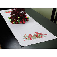 Bucilla Cardinals Stamped Cross Stitch Table Runner, 14