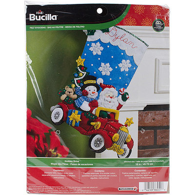 Bucilla Holiday Drive Stocking Felt Applique Kit-18