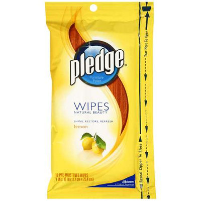 Pledge Lemon Scent Wet Wipes, Cloth, 24/Pack