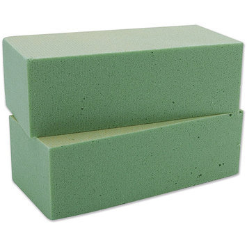 Floracraft 350560 Dry Foam Blocks 2.63 in. x 3.5 in. x 7.88 in. 2-Pkg-Green
