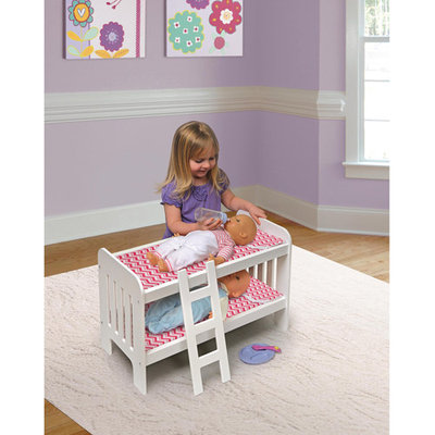 Doll Bunk Bed with Ladder - Chevron Print