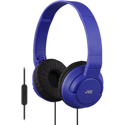 JVC HA-SR185 Lightweight Foldable Headphones with Remote (Blue)