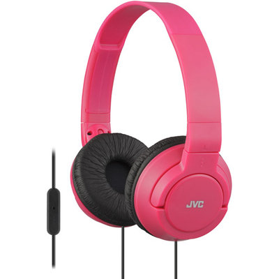 JVC HA-SR185 Lightweight Foldable Headphones with Remote (Red)