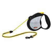 Flexi Medium Black & Neon Yellow Reflective Retractable Dog